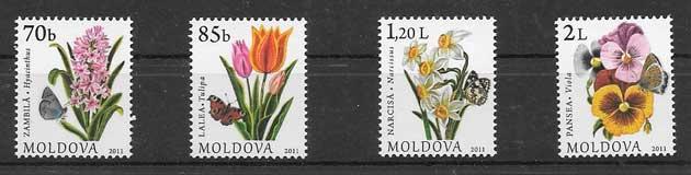 Sellos Filatelia serie corriente de flora