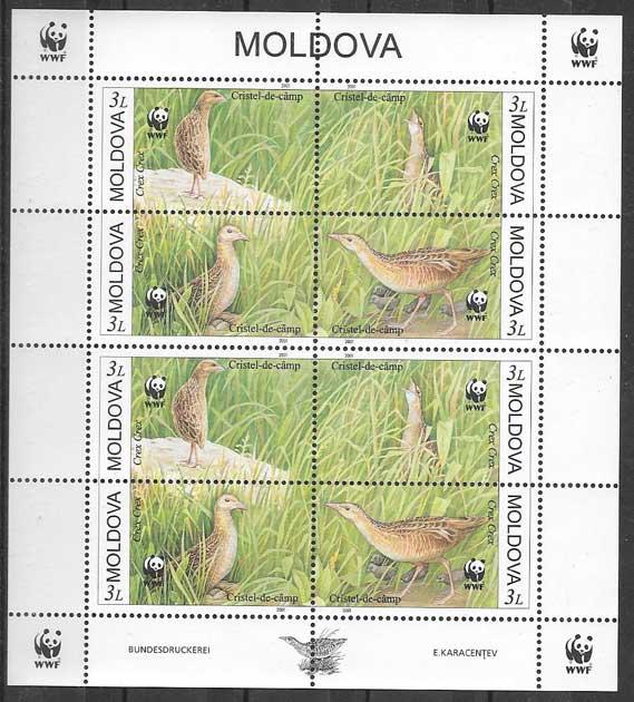 Filatelia fauna wwf Moldavia 2001