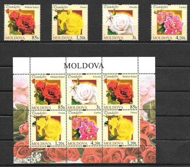 Colección sellos flores de Moldavia 2012
