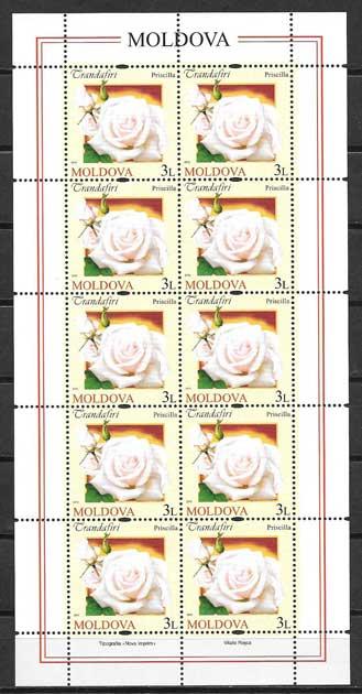 Colección sellos Tema rosas diversas.Moldavia-2012-04