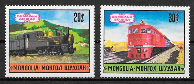 sellos trenes Mongolia 1971