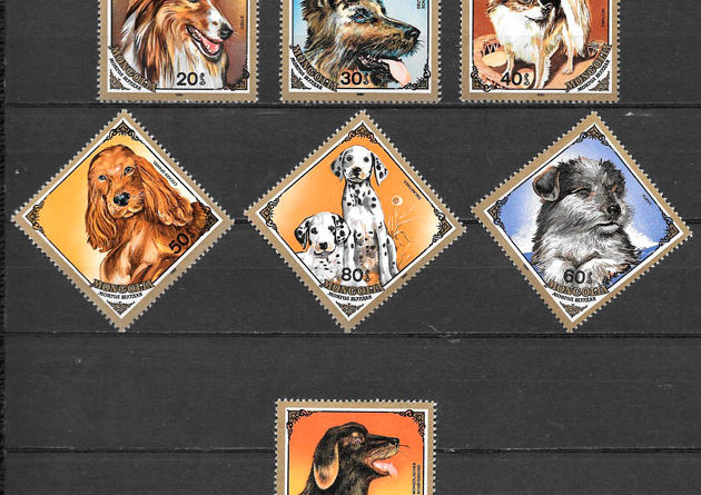 filatelia colección perros Mongolia 1984