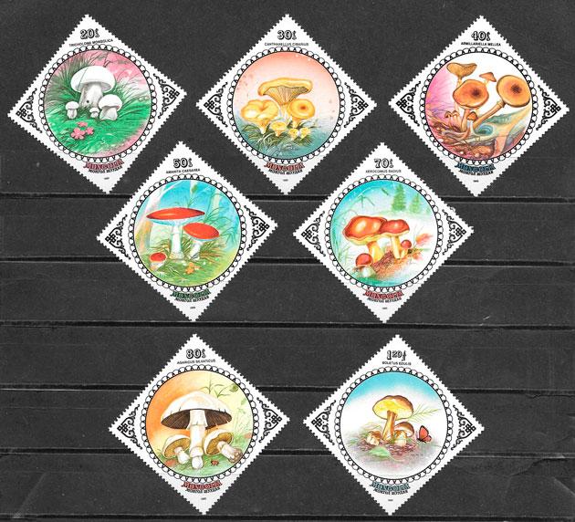 filatelia colección setas Mongolia 1985