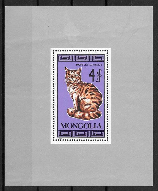 filatelia gatos Mongolia 1987