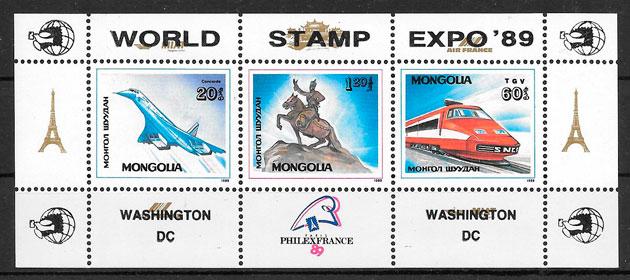 sellos trenes Mongolia 1989