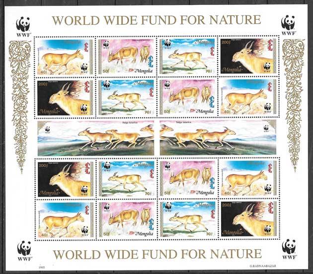 sellos filatelia fauna Mongolia 1995