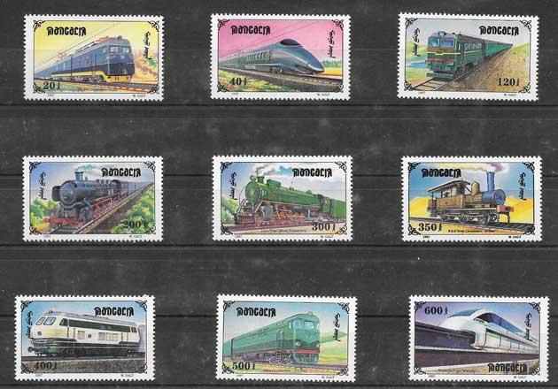 Colección sellos locomotoras diversas de Mongolia