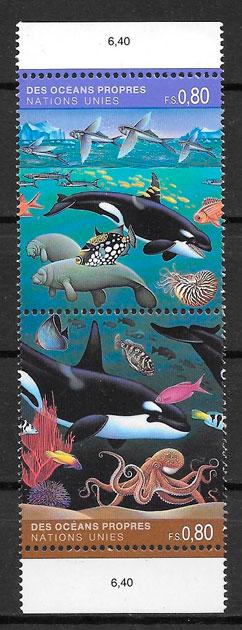 sellos fauna Naciones Unidas Genova 1992