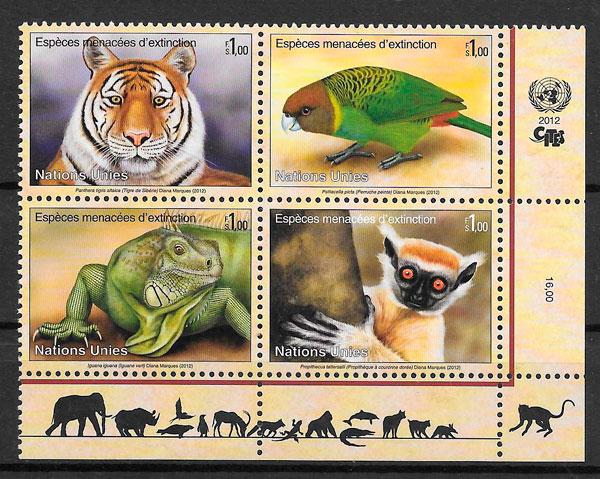 sellos fauna Naciones Unidas Genova 2012