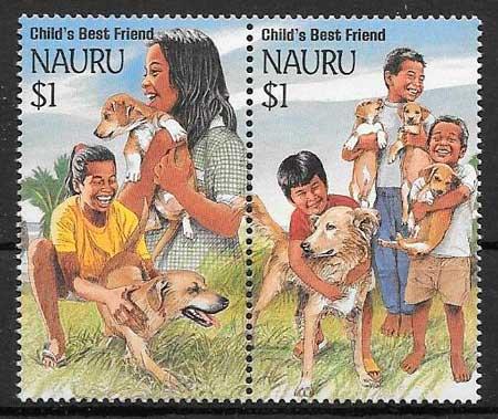 colección de sellos gatos y perros Nauru 1994