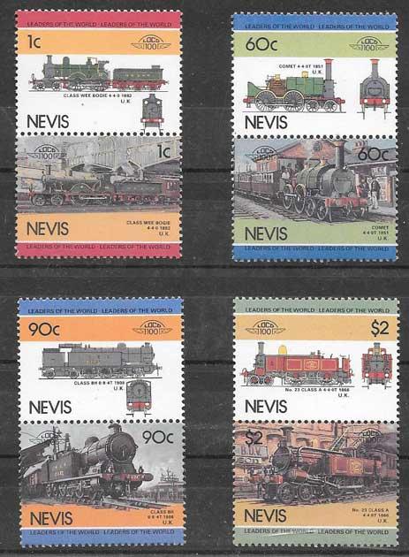 Sellos colección trenes Nevis 1985