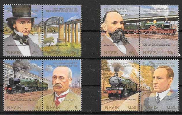 Colección sellos Nevis trenes 1985