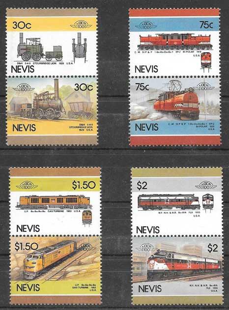 sellos trenes 1986 Nevis