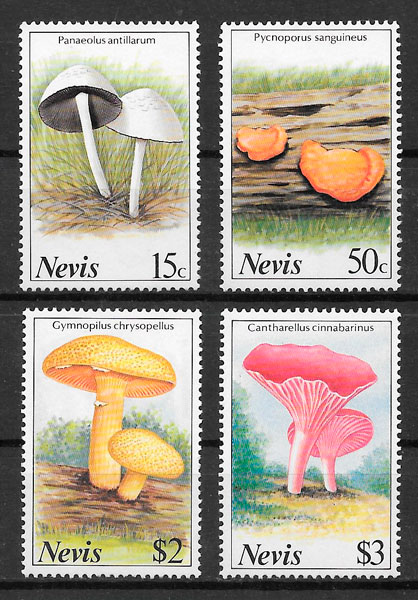 colección sellos setas Nevis 1987