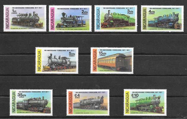Colección sellos transporte ferroviario Nicaragua 1978