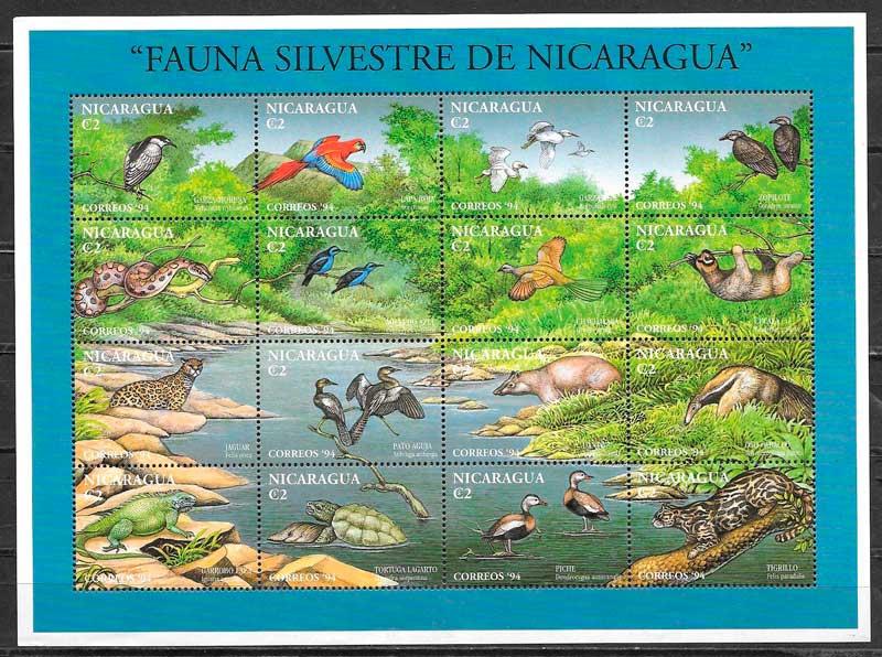 colección sellos fauna Nicaragua 1994
