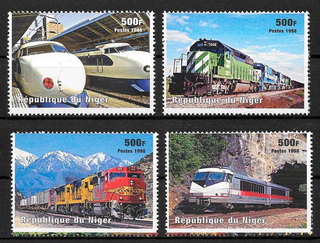 filatelia coleción trenes Niger 1998