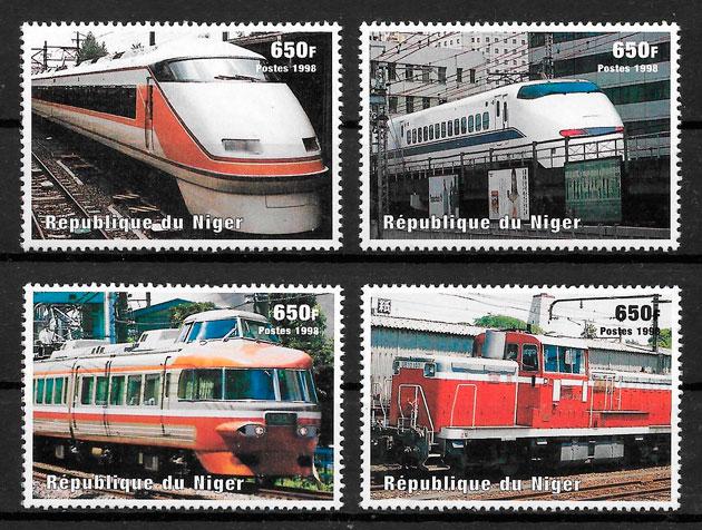 colección sellos trenes Niger 1998