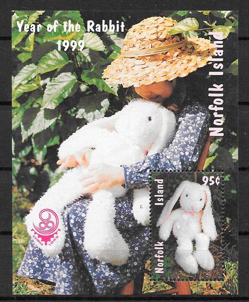 colección sellos año lunar Norfolk Island 1999