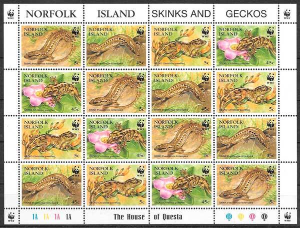 sellos fauna wwf norfolk Island 1996