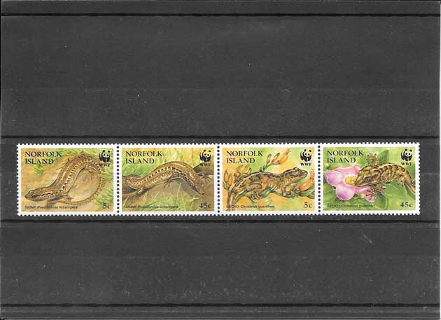 Colección sellos serie de reptiles protegidos.