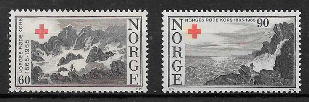 filatelia colección cruz roja Noruega 1965