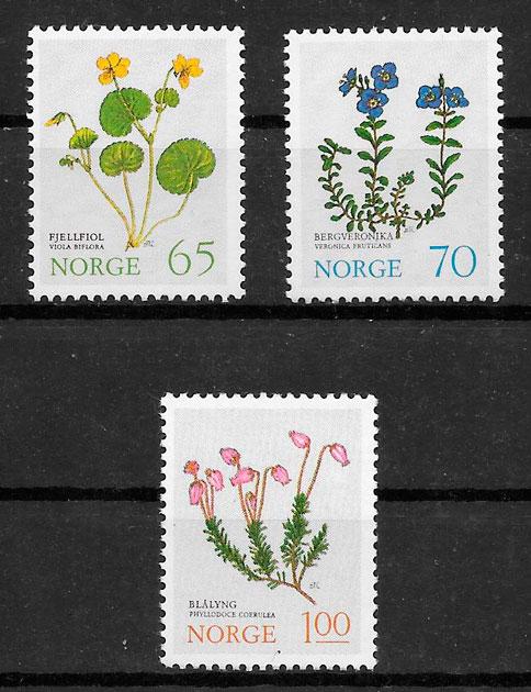 sellos flora Noruega 1973