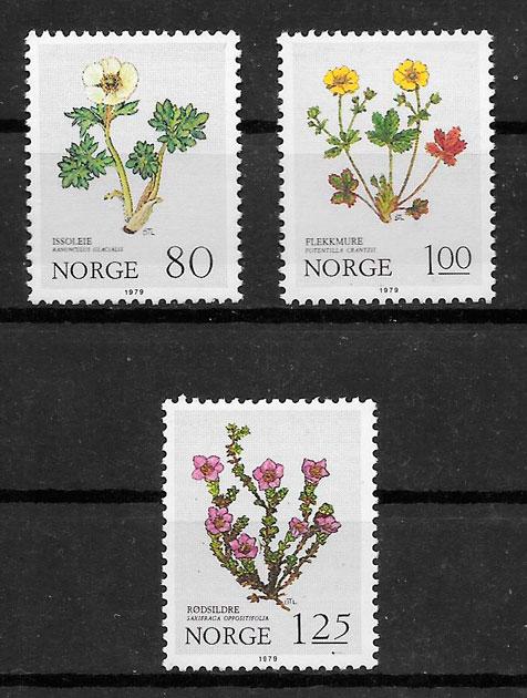 sellos flora Noruega 1979