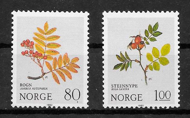 sellos flora Noruega 1980