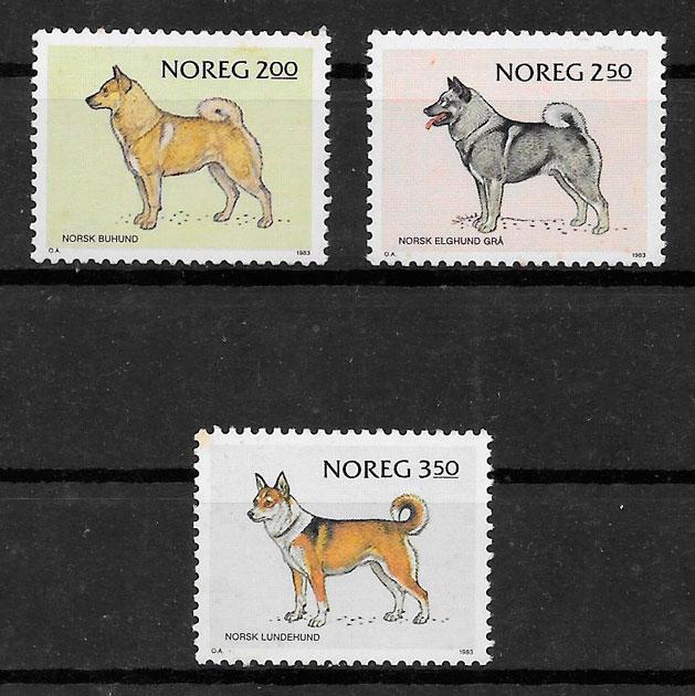 filatelia gatos y perros Noruega 1983