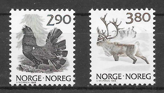 filatelia fauna Noruega 1988