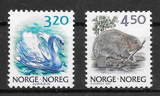 filatelia fauna Noruega 1990