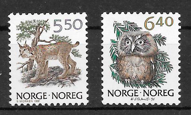 filatelia fauna Noruega 1991