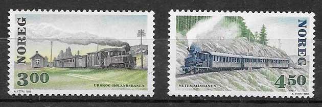 colección de sellos trenes Noruega 1996