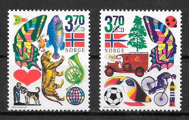 filatelia fauna Noruega 1997