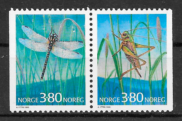 filatelia fauna Noruega 1998
