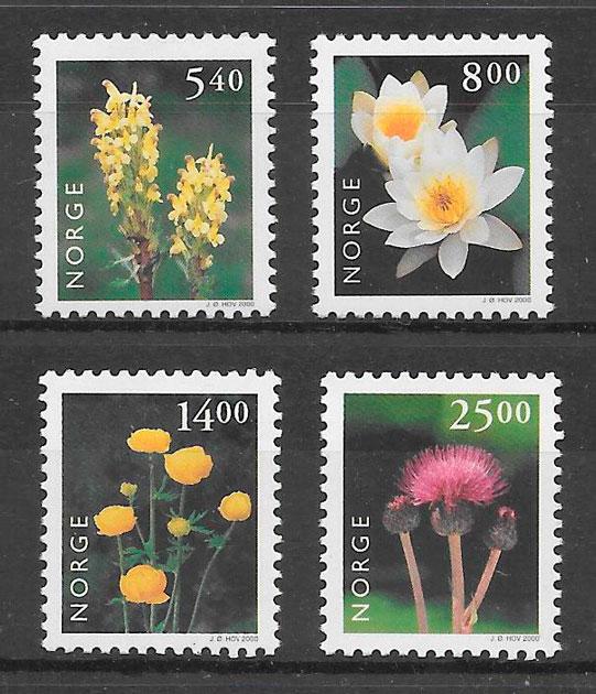 filatelia colección flora Noruega 2000