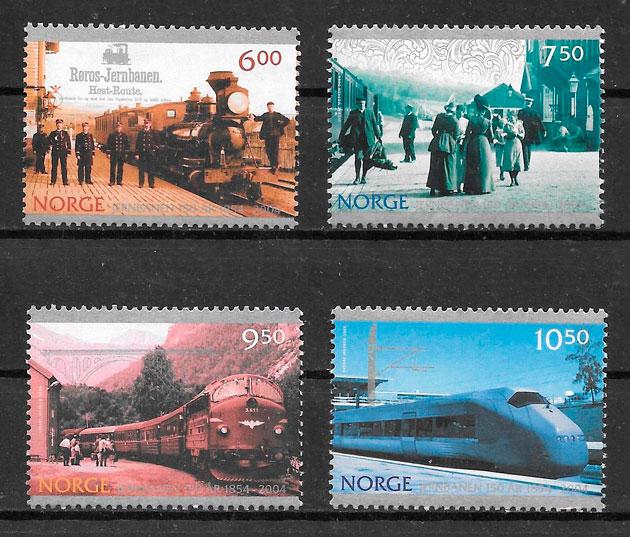 colección sellos trenes Noruega 2004