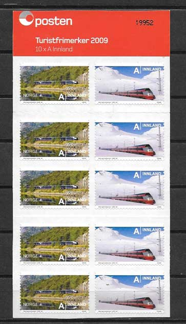 Sellos filatelia carnet de trenes Noruega 2009