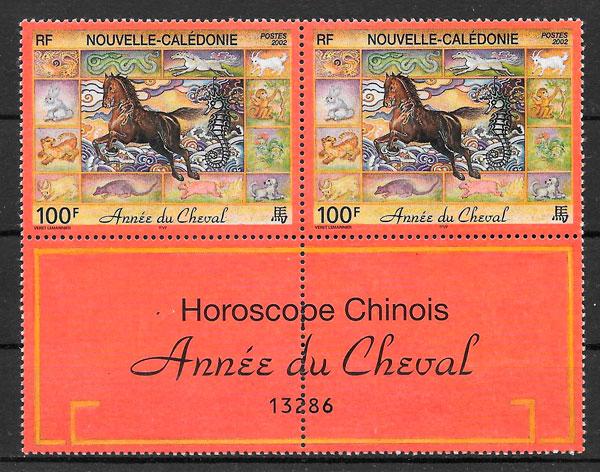 filatelia año lunar Nueva Caledonia 2002