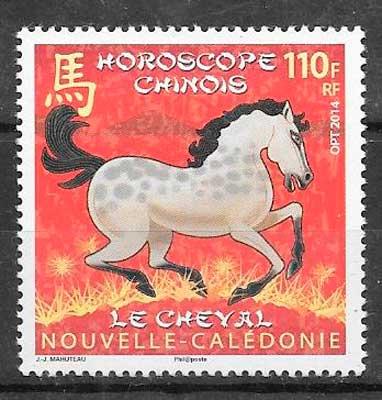 colección sellos año lunar Nueva caledonia 2014