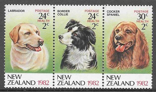 colección sellos perros Nueva Zelanda 1982