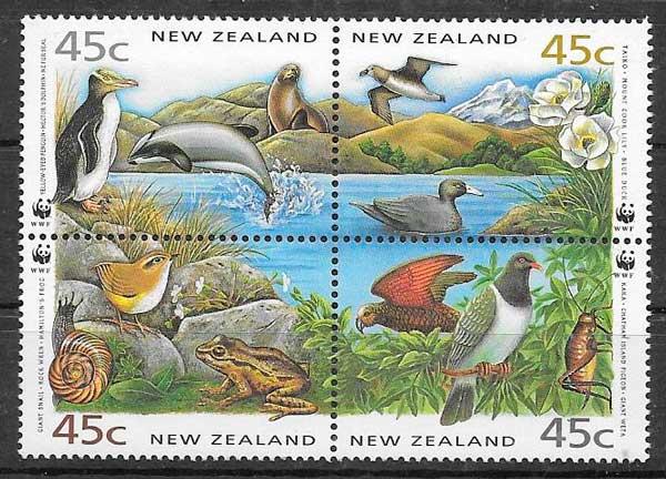 sellos wwf Nueva Zelanda 1993