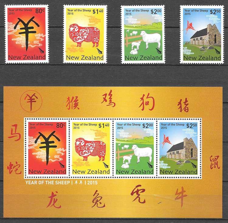 Colección sellos año lunar cabra 2015 Nueva Zelanda