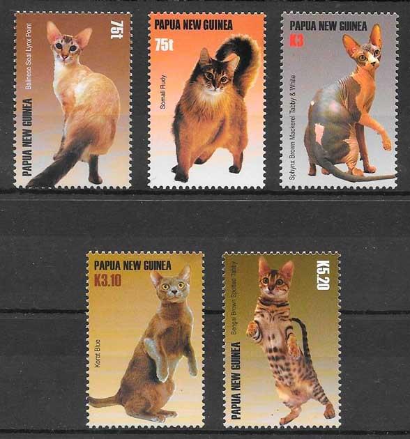 filatelia gatos y perros Papua Nueva Guinea 2005