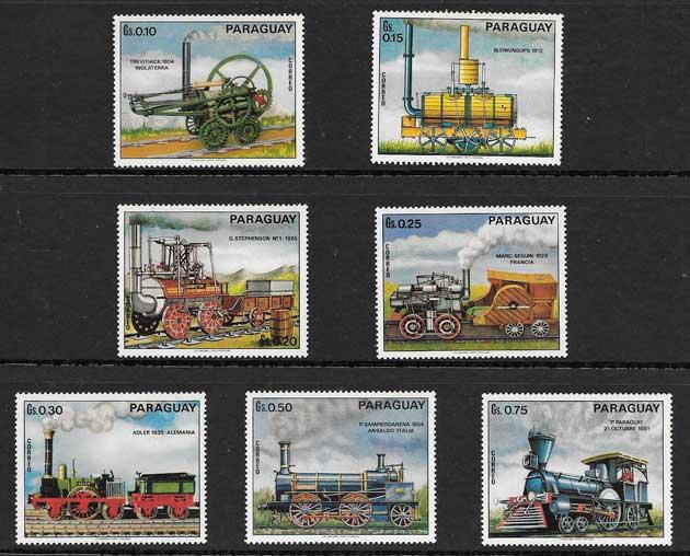 Sellos locomotoras antiguas del Paraguay