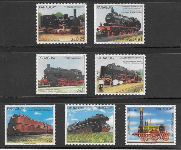 Sellos colección transporte ferroviario de Paraguay