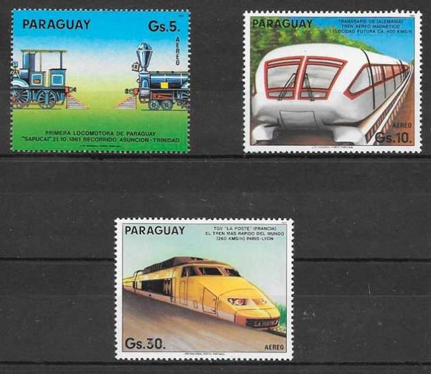 sellos trenes Paraguay 1985