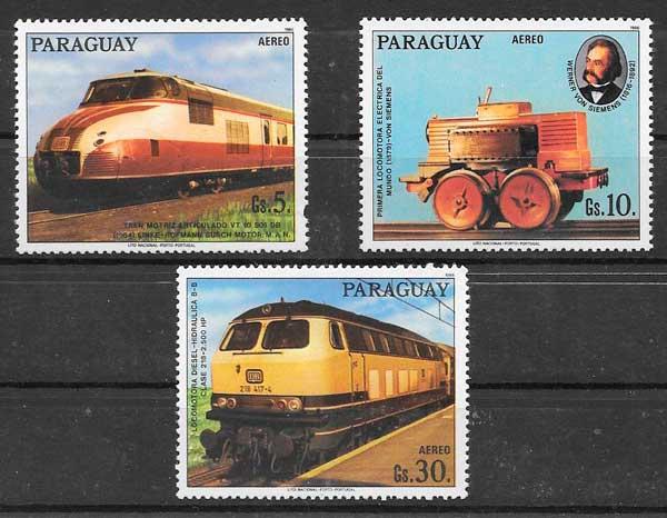 colección sellos trenes Paraguay 1986