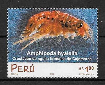 filatelia colección fauna Perú 2001